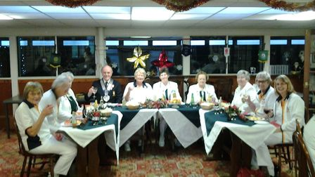 The top table at the Sidmouth Bowls Club's meeting with the devon ladies president and her team. Pic