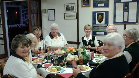 One of the table's at the Sidmouth Bowls Club Christmas Social gathering. Picture SIDMOUTH BOWLS CLU
