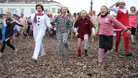 'And There Off' Sidmouth Boxing day swim 2011. Photo by Terry Ife ref shs 5896-52-11TI To order your