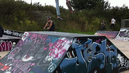 Ottery Skate Park in use, and it needs trustees. Picture: Elli Pang