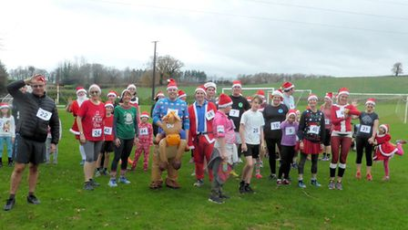 Participants lined up for the first ever Ottery Santa Run. Picture: Terry Blackler