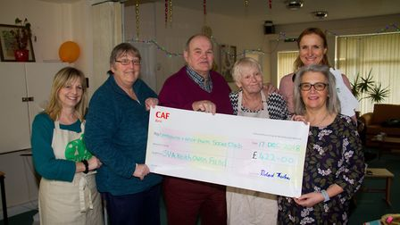 Nancy Craven from the Keith Owen Fund presents a cheque to Lymebourne and Arcot Community Centre. Re