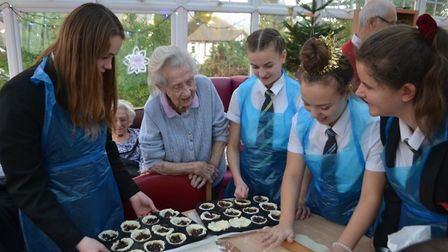 Students making mince pies with the care home residents. Picture: Sidmouth College