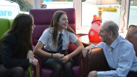 Students talking to a care home resident.Picture: Sidmouth College