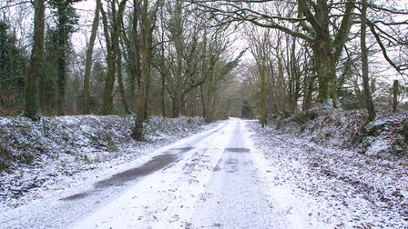 Light snow settled on country lanes such as here in East Hill. Picture: Simon Horn