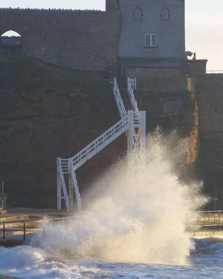 Wild waves at Jacob's Ladder in January. Picture: Simon Horn
