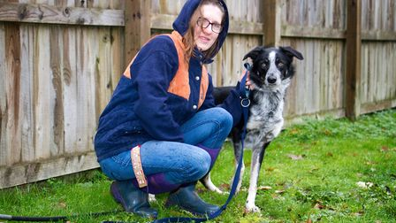 ARC staff with Benji the collie cross. Ref shs 49 18TI 6385. Picture: Terry Ife