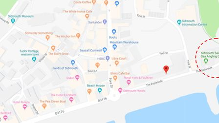 The location of the fatberg in Sidmouth. Picture: South West Water