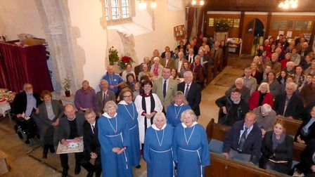Members of Branscombe's community gathered to thank the Reverend Hilary Dawson, who will leave the p