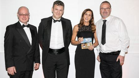 Hosts of the evening Simon Dawson and Simon Gear with the Donkey Sanctuary's Gemma Rowsell and Simon