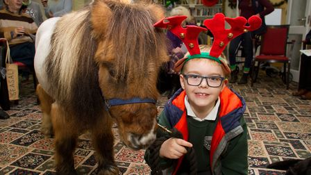 Harry Winks with his Shetland pony called Billy. Ref shs 51 18TI 7002. Picture: Terry Ife