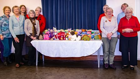 Sara Bennett from Balloons Charity and some of the members of the Sidford WI Woolley Women Group who