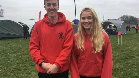 Toby Garrick and Kate Marriott after the had run their races at the South West Cross Country Champio