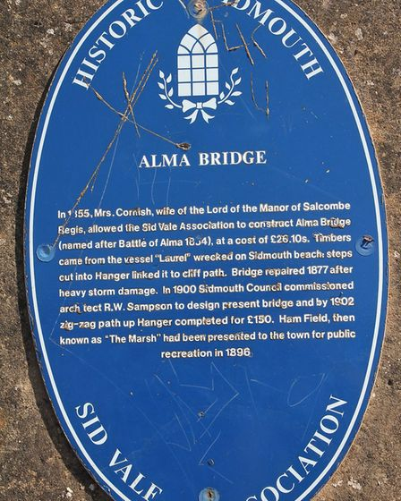 One of Sidmouth's current blue plaques at Alma Bridge. Photo by Simon Horn. Ref shs 4258-35-12SH To
