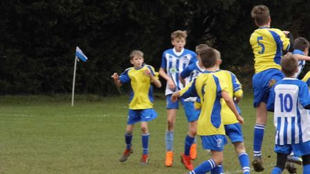 Action from the Ottery St Mary Under-13s meeting with Brixington Blues. Picture STEPHEN UPSHER