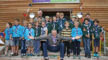 Jeremy Vine at Sidmouth Scout HQ opening in 2016. Ref shs 34-16SH 6180 Picture: Simon Horn.