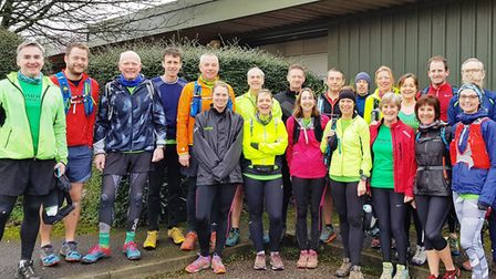 The Sidmouth Mighty Green line up for the Blackdown Beast 2019.Picture SIDMOUTH RUNNING CLUB