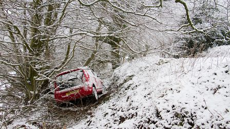 A car in a ditch on Peak Hill. Ref shs 05 19TI 8981. Picture: Terry Ife
