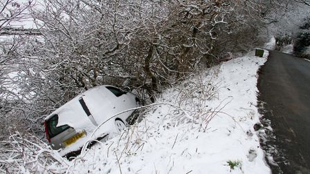 A car in a ditch on Peak Hill. Ref shs 05 19TI 8977. Picture: Terry Ife