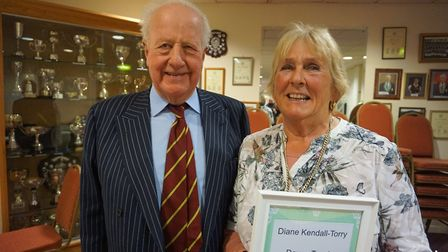 Sidmouth Tennis Club secretary 'Di' Kendall-Torry with the 'Devon Tennis Volunteer of the Year' awar
