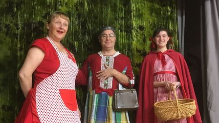 Christine North as Red's mother Ruby, Marc Colson as the grandmother, and Abi Bryson as Red. Pictur