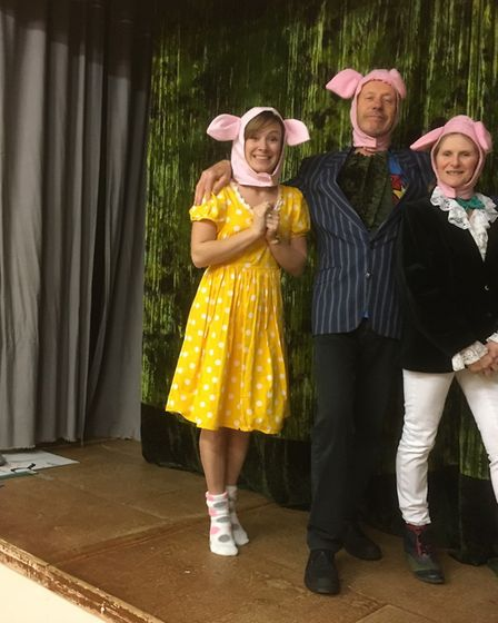 Leonie Motler, Steve Yarnall and Di McKay as the three little pigs. Picture: Tricia Barclay