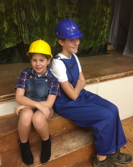 Martha and Ellen Cox as Bob and Bert the builders. Picture: Tricia Barclay