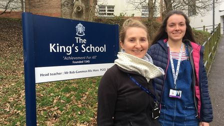 Student Naomi Gammon (right) with her geography teacher Dr Charlotte Hawkins will represent the UK a