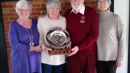 (left to right) Marie Timms, Sheila Faulkner ( ladies' captain), Roger Bawden and Yvonne Anning with