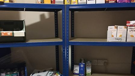 The bare shelves at Sid Valley Food Bank. Picture: Contributed