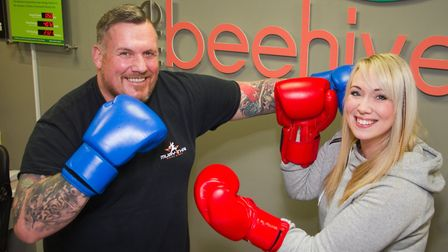 Paul Quick of Fight or Flight with See-the-Future's Leanne Herrett. Ref edr 04 19TI 8704. Picture: T