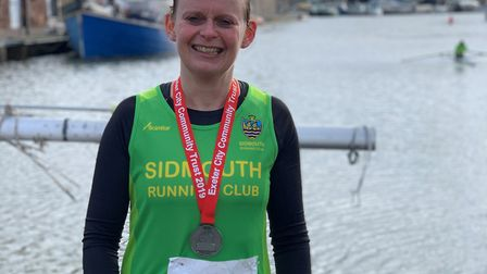 Sidmouth Running Club member Cheryl Boulton at the Exeter Half Marathon. Picture: BRUCE BOULTON