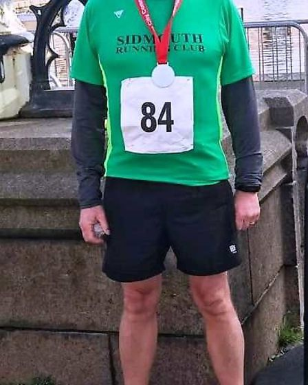Sidmouth Running Clubs Tim Swatbrick at the Exeter Half Marathin. Picture SIDMOUTH RUNNING CLUB