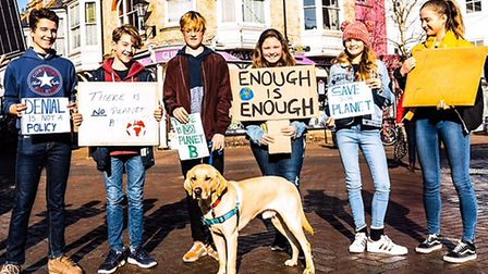 Students standing up and calling for change with a climate change protest in Sidmouth. Picture: Sara