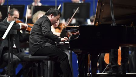 Xinyuan Wang performing in the final of the Leeds International Piano Competition. Picture: Simon Wi