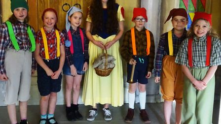Snow White with six of the dwarfs. Picture: Sian Merritt