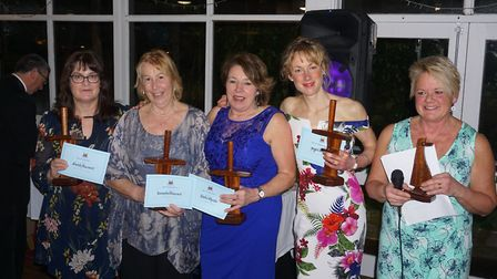Four of the Sidmouth Gig Club's Ladies C Crew, Sarah MacCourt, Amanda Bleazard, Linda Wheate, Megan