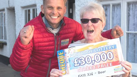 Winner Mary Hawker with Postcode Lottery ambassador Jeff Brazier. Picture Postcode Lottery