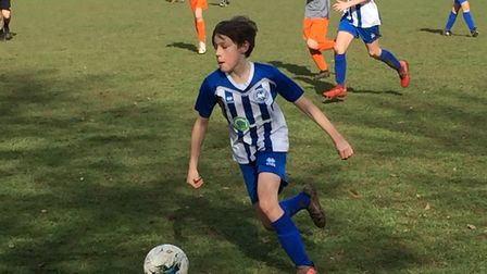 George Durham in action for Otetry St Mary U13 during the 2-2 draw with Alphington. Picture STEPHEN