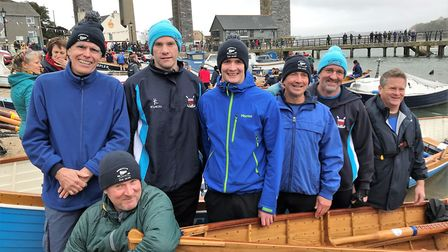 The Sidmouth Gig Club men's crew at the Caradon Three Rivers race (left to right) Nick Thompson, Jam