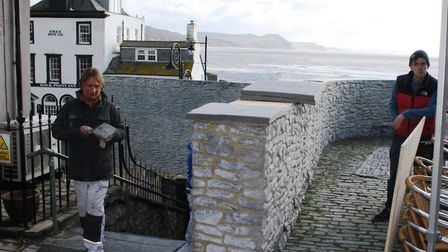 Set makers have been busy creating new walls at Cobb Gate in Lyme Regis for the film. Pictures Chri