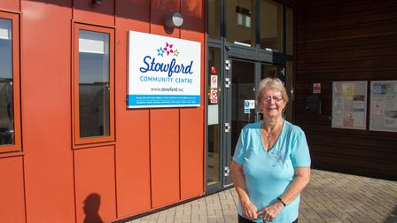 Jan Jones outside Stowford Rise Community Hall. Ref shs 43 18TI 3160. Picture: Terry Ife