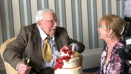 Joe Daniel's toasting his good health after turning 107. Picture: Netherhayes Care Home