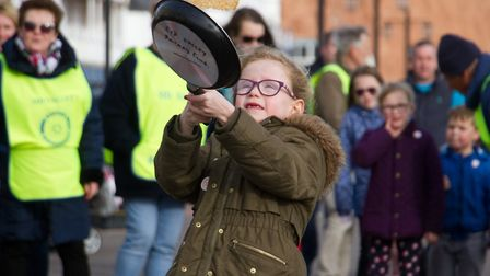Sid Valley Rotary club pancake races. Ref shs 09 19TI 0560. Picture: Terry Ife