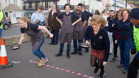Sid Valley Rotary club pancake races. Ref shs 09 19TI 0632. Picture: Terry Ife