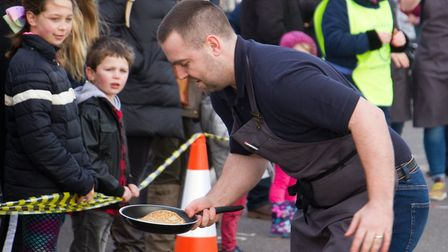 Sid Valley Rotary club pancake races. Ref shs 09 19TI 0628. Picture: Terry Ife
