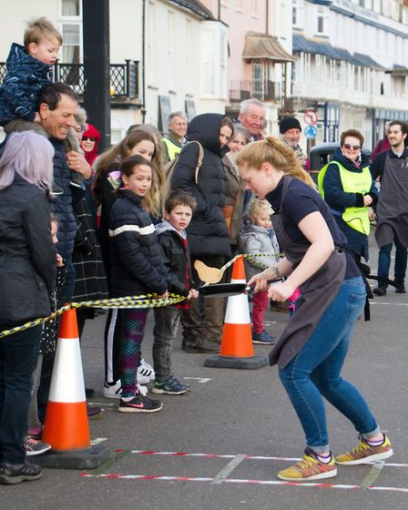 Sid Valley Rotary club pancake races. Ref shs 09 19TI 0621. Picture: Terry Ife