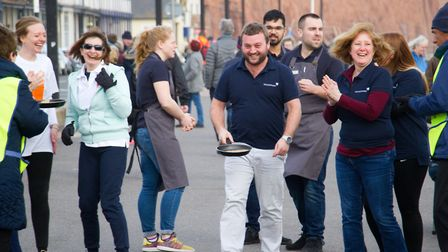 Sid Valley Rotary club pancake races. Ref shs 09 19TI 0616. Picture: Terry Ife