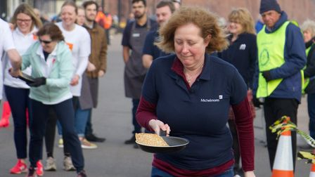 Sid Valley Rotary club pancake races. Ref shs 09 19TI 0606. Picture: Terry Ife