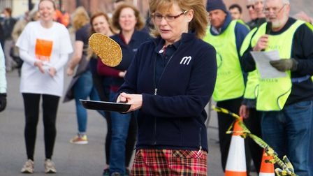Sid Valley Rotary club pancake races. Ref shs 09 19TI 0599. Picture: Terry Ife